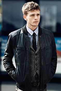 Leather jacket tweed vest skinny tie cute boy. Via Garcon Portraits.