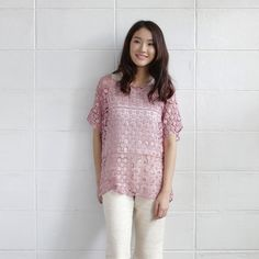 Over-Size Tops Lace Cotton Camomile Pink Color-www.tanbagshop.com