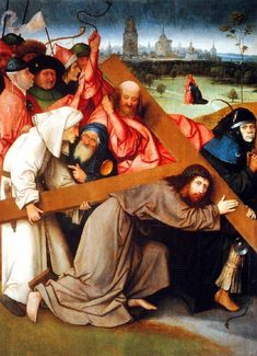 Hieronymus Bosch - Christ Carrying the Cross (El Escorial) ヒエロニムス・ボス Hieronymus Bosch, Jan Van Eyck, Cross Canvas Art, List Of Paintings, Dutch Painters, Oil Painting Reproductions, Sacred Art, Renaissance Art, Renaissance Paintings