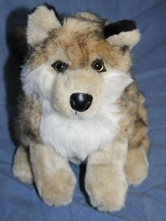 Wishpets Wolf Ani realistic plush wild Dog stuffed animal soft toy 64113 2002 11 #Wishpets #Wolf #WildDog
