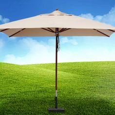 Toller #Sonnenschirm mit robustem Stamm und Windfang #Holzschirm