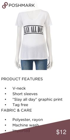 """Graphic Tee Shirt """"Slay All Day"""" Brand new with tags. Tops Tees - Short Sleeve"""