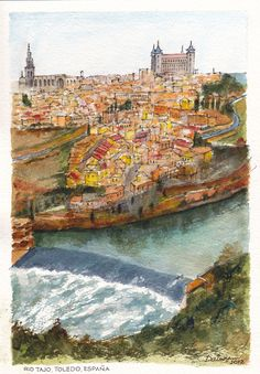 The weir on the Rio Tajo (River Tagus) below the old town of Toledo in Spain. Ink and watercolour painting by Dai Wynn on 300 gsm rough Arches cotton paper. 29cm X 21cm (11.75″ X 8.25″) approximately.  SOLD