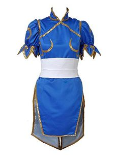 XCOSER ChunLi Costume Dress for Womens Halloween Cosplay Sateen XLarge * ** AMAZON BEST BUY **  #HalloweenCostumes