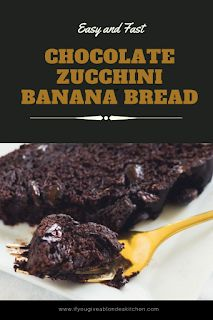Easy and Fast Chocolate Zucchini Banana Bread Vegan Dessert Recipes, Best Cookie Recipes, Sweet Recipes, Cake Recipes, Zucchini Banana Bread, Banana Bread Recipes, Chocolate Recipes, Chocolate Cake, Find Recipe