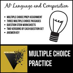 AP English Language and Composition Multiple Choice Practice Pack English Short Stories, Ap English, English Language, Teaching High Schools, Teaching Ideas, Creative Teaching, Teaching Resources, English Classroom, English Teachers