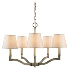 5-light chandelier in antique brass with a clear orb accent and tapered fabric shades.     Product: ChandelierConstruction...