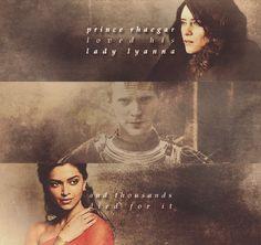 "lady-arryn-deactivated20140718: "" Deepika Padukone as Elia Martell Claire Foy as Lyanna Stark Paul Bettany as Rhaegar Targaryen """