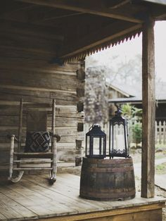 Rustic Log Cabin Porch- so far I've got the lantern and the barrel! Woodland Wedding Inspiration, Wedding Ideas, Cabin Porches, Rustic Porches, Little Cabin, Le Far West, Cabins In The Woods, Log Homes, Porch Decorating