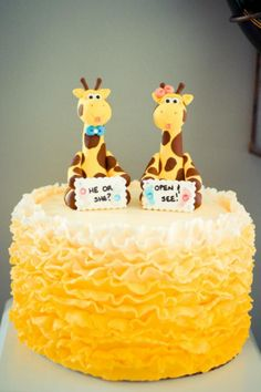 Sweet Simplicity Bakery: Yellow Giraffe Theme Gender Reveal Party; Baby Boy or Baby Girl?; Ombre Fondant Ruffle Cake