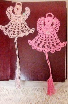 Angel Bookmarks/ornaments hand crocheted with Antique Light Pink Thread and Dark Pink thread