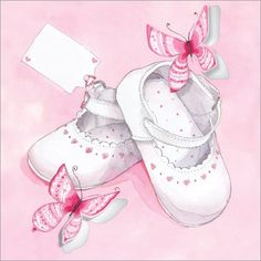 Pink Baby Shoes ~ Code: Presentation: Flittered and die cut, with a white 100 gsm envelope. Clipart Baby, Baby Images, Baby Pictures, Baptism Pictures, Baby Barn, Blue Nose Friends, Baby Illustration, New Baby Cards, Baby Memories