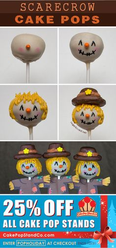 How To Make Scarecrow Thanksgiving Cake Pops by @Janine (sugarkissed.net)