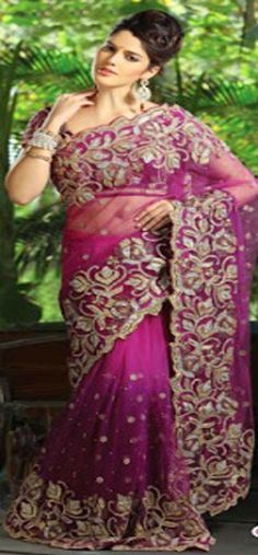 #Purple & #Gold #Saree - £192.00. For full product information visit: http://www.reevaonline.co.uk/sarees/magenta-net-saree-with-blouse-fabric.html