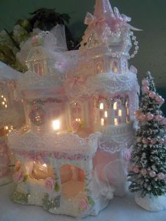 shabby pink victorian christmas village house chic hp roses glitter in Collectibles, Holiday & Seasonal, Christmas: Current (1991-Now)   eBay