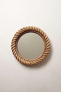 DIY round mirror with rope inspiration : Anthropologie - Shoreline Mirror