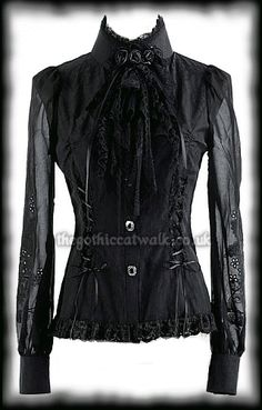 Long Sleeved Black Gothic Victorian Blouse with Jabot