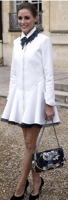 Olivia Palermo's DIOR white coat and floral print handbag