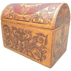 Belgian Art Nouveau Gilt and Painted Embossed Leather Box Dated 1912 | From a unique collection of antique and modern boxes at https://www.1stdibs.com/furniture/decorative-objects/boxes/