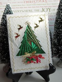 Iris Folding Christmas Tree Card of by warmtouchcreations on Etsy, $7.25