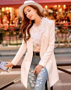 #VIPshop - #DABUWAWA White V Neck Double Breasted  Long Sleeve Women's Outerwear - AdoreWe.com