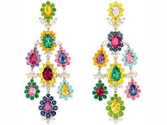 Brincos safiras coloridas Dior