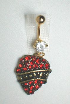 "Unique Belly Ring - Trendy Rhinestone Heart with ""LOVE"". $9.95, via Etsy."