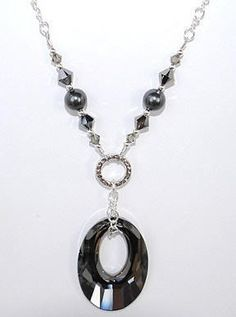 Sophisticated Swarovski Helios Pendant Necklace in Crystal Silver Night