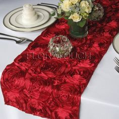 Satin Rosette Table Runner – made by floratouch on Etsy