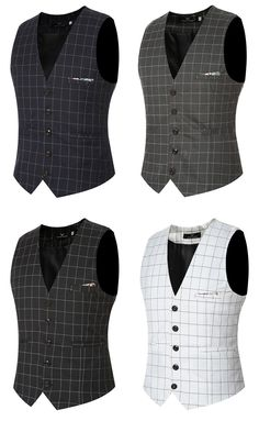 Fashion Wedding Dress Plaid Vest Slim Fit Business Suit Vest For Men