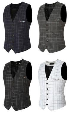 e0790af3dc6 Fashion Wedding Dress Plaid Vest Slim Fit Business Suit Vest For Men Mens  Suit Vest