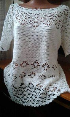 #Blouse Mehr Bico em #croche Crochet Top, Lace Tops, Lace Peplum Tops