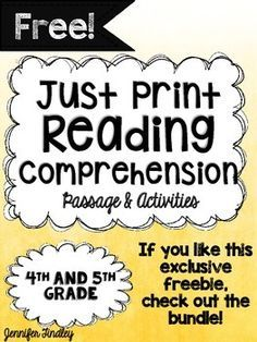 Free Reading Comprehension Passage and Activities and Grade {Just Print} This FREE reading comprehension resource includes one passage with no prep comprehension and text dependent activities! Reading Lessons, Reading Activities, Reading Skills, Teaching Reading, Free Reading, Guided Reading, Reading Strategies, Reading Resources, Close Reading