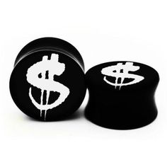 Dollar Sign Double Flare Acrylic Plugs in Black Tattoo Artist Design... (£27) ❤ liked on Polyvore