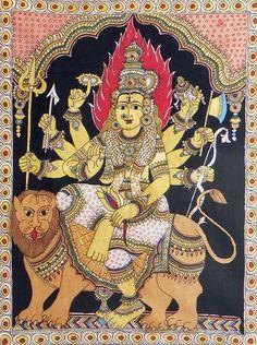 Goddess Durga Sitting on Lion (Kalamkari Paintings on Cotton - Unframed))