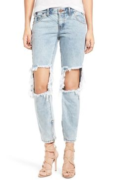 One Teaspoon 'Freebird' Destroyed Skinny Jeans (Blue Malt) available at #Nordstrom  Size 0