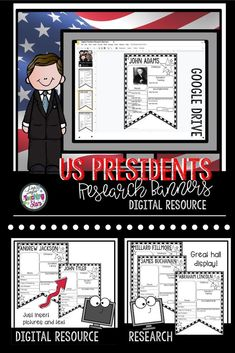 US President Research Banners is a collection of digital banners of all the United States Presidents. This resource is great for Presidents' Day! Just assign on Google Classroom and students can research! Print for an instant display of student work! The banners give students a guide to find the important information about each President and help them turn it into a great informational piece of writing! It is also a great way to display what students have learned about our Presidents!