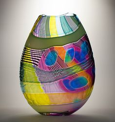 """Osri Vase - Watch Hill"" Art Glass Vase Created by Jeffrey P'an"