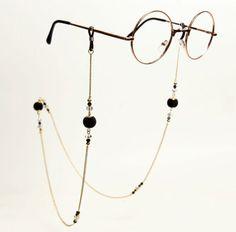 Vintage Style Eye Glasses Chain_Black Velvet Fast Shipping - be a sparkle Blue Crystals, Stones And Crystals, Black Velvet, Bijoux Design, Fashion Eye Glasses, Beaded Jewelry, Unique Jewelry, Vintage Stil, Eyeglasses