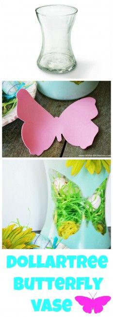 #Dollartree Butterfly silhouette vase.  You can make this vase for under $5.00.  It's quite cute, unique and perfect for #Spring!