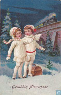 Ansichtkaart - Wenskaart: Kerst & Nieuwjaar - gelukkig nieuwjaar 1934