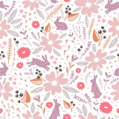 Flowers and bunnies fabric by stolenpencil on Spoonflower - custom fabric