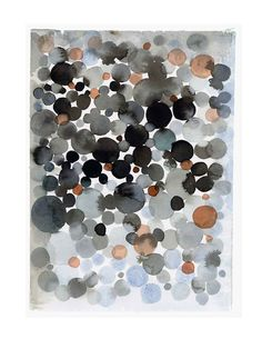 Black dots - watercolor painting abstract painting wall art  little painting fall autumn dark