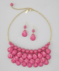 Take a look at this Hot Pink Water Drop Necklace & Earrings by Mindy Mae's Market on #zulily today!