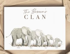 Personalized Memorial Gifts, Family Wall Art, Elephant Family, Grandpa Gifts, Mom Birthday Gift, Family Christmas, Kid Names, Gifts For Family, Ornament