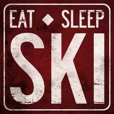 EAT SLEEP SKI Original Illustration - ready to hang 12 x 12 wood sign - made to order