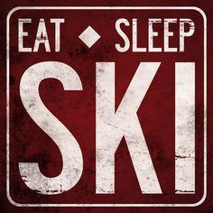 EAT SLEEP SKI Original Alpine Graphics Illustration on wood - made to order via Etsy