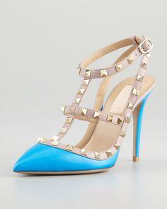 Rockstud Twotone Slingback Sandal Blue - Lyst Valentino Garavani Shoes 81e6e3669333b