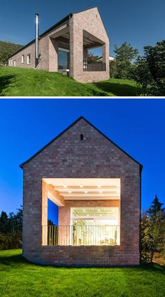 14 Modern Houses Made Of Brick | The brick covering this house maintains a traditional house material that is commonly used in the surrounding area. Gable House, House Roof, Facade House, Modern House Plans, Modern Brick House, Modern Garage, Brick Houses, House Layouts, Gable Roof Design