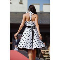 Retro šaty biele s veľkými bodkami - koktejlové šaty, šaty na promócie, šaty na svadbu Salons, Backless, Retro, Dresses, Fashion, Lounges, Gowns, Moda, La Mode